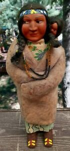 Vintage SKOOKUM 12 Inch NATIVE AMERICAN INDIAN SQUAW DOLL With PAPOOSE