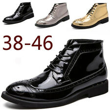 Men Patent Leather Ankle Boots Wingtip Formal Dress Wedding Brogue Oxfords Shoes