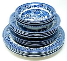 "16 Pc Churchill Blue Willow Mixed Plate + Bowl Set: 6"" Bowls up to 10 1/4"" Plate"
