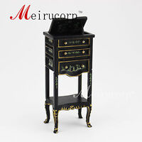 dollhouse 1:12 scale miniature furniture Black hand painted display table