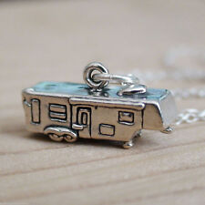 Fifth Wheel Trailer Necklace - 925 Sterling Silver - Camper Camp RV Travel NEW