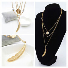 US-Fashion Multi Layer Necklace Big Feather Round sequins Charm Pendant necklace