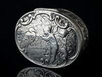 Antique Victorian silver snuff box, Fairies and Stork