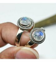 2 ps Rainbow Moonstone Ring Solid 925 Sterling Silver Ring Meditation statement