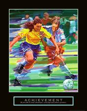 Rare ACHIEVEMENT Women's Girls Soccer Inspirational Motivational Poster Print
