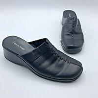 Bare Traps Triple Women Black Leather Closed Toe Wedge Slide Shoe SZ 9 Pre Owned