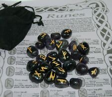 Amethyst Runes with Instructions, Pouch, Elder Futhark, Viking, Oracle, Wicca