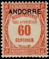 "ANDORRE FRANCAIS STAMP TIMBRE TAXE N° 11 "" TIMBRE DE 1927-31 60c "" NEUF x TB"