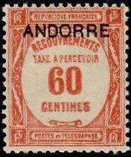 "ANDORRE FRANCAIS STAMP TIMBRE TAXE N° 11 "" TIMBRE DE 1927-31 60c. "" NEUF x TB"