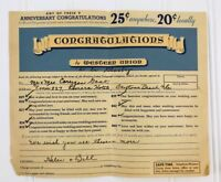 Vintage Western Union Telegram Congratulations 1930's