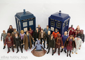 DR WHO ACTION FIGURES & FLIGHT CONTROL TARDIS: 9TH, 10TH & 11TH DOCTOR ERA TOYS