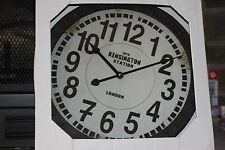 "KENSINGTON STATION Wall Clock Rustic With Metal Frame Approx 15"" By 15"""
