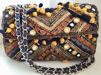 Zara Quilted Tweed Flap Bag Embroidery Chain Pom Poms Cotton Multicolor BlackNEW