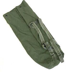 Military Duffle Bag, OD Green Nylon Sea Bag, Carry Straps, USGI Luggage, DEFECT