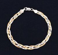 Reversible Fox Tail Woven Braided Bracelet Real 14K Yellow Gold Clad Silver 925
