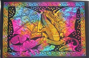 Multi Tie Dye Wall Hanging Fly Dragon Bedroom Throw Cotton Tapestry Poster Boho