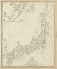 EMPIRE OF JAPAN. Nagasaki Harbour. Yeso. Niphon Nippon. SDUK 1844 old map