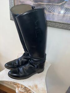 MADE IN USA Size 9.5C Vintage Black Leather Equestrian Dressage Riding Boots