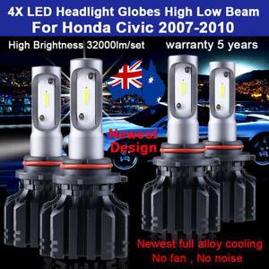 For Honda Civic 2007-2010 4x Headlight Globes High Low beam LED Bulb Set 32000LM