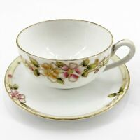 Vintage Hand Painted Nippon Moriage Tea Cup & Saucer Set Gold Trim Pink Yellow