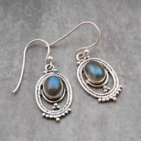 Natural Labradorite Handmade Earrings 925 Sterling Silver Gift Jewelry