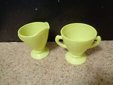 Vintage Hazel Atlas Sugar Bowl Creamer Yellow- Green Ovide Platonite Chartreuse