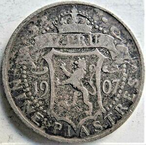 1907 CYPRUS Edward VII, silver Nine Piastres, grading FINE. RARE.