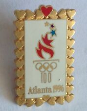 Atlanta 1996 Olympics Love Heart Framed Pin Badge Rare Vintage (F3)
