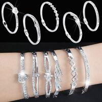 Women Crystal Rhinestone Silver Plated Bangle Cuff Bracelet Charm Jewelry Set