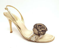 RENE CAOVILLA Size 9 Gold / Black Lace Slingback Heels Sandals Shoes 39 1/2