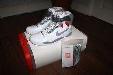 Nike Air Pressione cemento bianco grigio rosso Varsity UK10/US11/EU45 NUOVO CON SCATOLA 831279-100