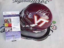 Frank Beamer & Michael Vick signed Virginia Tech VT Hokies mini helmet JSA COA