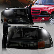 For Dodge Dakota/Durango 1-Piece Black Housing Smoke Lens Headlight+Bumper Lamps