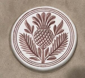 Rare Historic ImpressIons Cast Stone Mauve Scottish Thistle Butter Stamp 4.25""
