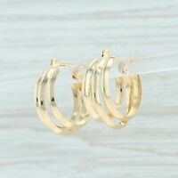 Triple Hoop Earrings - 18k Yellow Gold Pierced Snap Bar