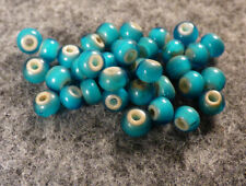 10 Small Old Sioux Indian Sky Blue Glass Whiteheart Trade Beads Good Patina