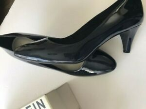 HEELS ANNE KLEIN 7 1/2M NAVY PATENT LEATHER I FLEX