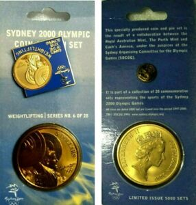 Australian Last Sydney Olympics $5 Bronze Coin + PIN Weightlifting Commemorative