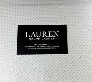 Ralph Lauren Twin Size Geometric  Sheet Set  Cotton Gray and White