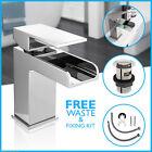 Waterfall Bathroom Basin Sink Tap Square Mixer Chrome Mono Bloc Luxury Cloakroom