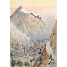 Swiss Alpine Highland Valley Town Snow Capped Mountain Impressionist Watercolour