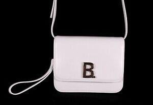 BALENCIAGA Optic White Leather Silver Logo Small B. Crossbody Bag