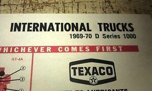 1969 1970 INTERNATIONAL  TRUCKS  - TEXACO USA Lube Charts D1000 1100 1200 1300