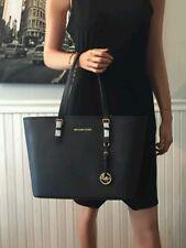 Michael Kors Jet Set Travel TZ Saffiano Leather Handbags Black Tote Bag