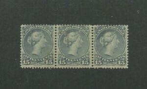 1868 Canada Postage Stamp #30 Mint Hinged F/VF Original Gum Strip of 3
