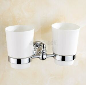 Polished Chrome Brasss Toothbrush Holder Double Ceramic Cups Wall Mounted aba908