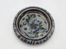 Vintage Tonala Mexico Folk Art Pottery Ashtray Trinket Dish Floral Flowers Round