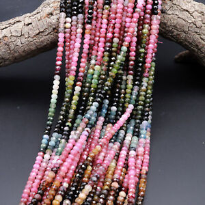 Natural Watermelon Tourmaline Faceted Rondelle Beads 3mm 4mm 5mm 6mm Pink Green