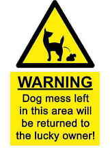 A5 Comedy Dog Mess Sticker - Pooper Scooper Bags Scoop Sign Warning