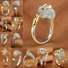 Animal Style Women Fashion Jewelry Cute Crystal Rhinestone Silver Gold Open Ring
